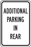 CIOMA Parking Signs - Additional Parking In Rear