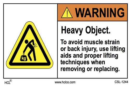 Warning Label - Heavy Object | HCL Labels