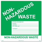 Custom Non-Hazardous Waste Label