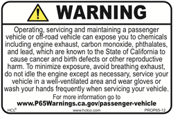 Prop 65 Passenger and Off-Highway Vehicle Exposure Label
