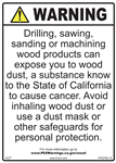 Wood Exposure Warning Prop 65 Sign