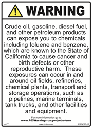 Petroleum/Facilities/Equipment Prop 65 Sign