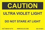 Caution Label - Ultraviolet Light