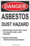 Danger Asbestos Dust Hazard Label