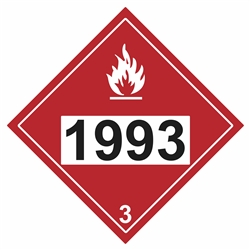 Flammable Liquid 1993  DOT HazMat Placard