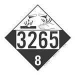 Corrosive Liquid 3265 DOT HazMat Placard
