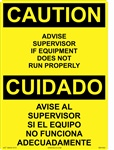 Caution Sign - Advise Supervisor If Equipment Doesn't Run