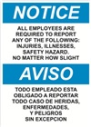 Notice Sign -  All Employees Are Required To Report (Bilingual)