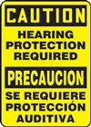 Bilingual Caution Sign - Hearing Protection Required