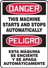 Danger Sign - This Machine Starts And Stops Automatically