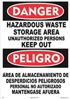 Danger Sign - Hazardous Waste Storage Area (Bilingual)
