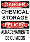 Danger Sign - Chemical Storage Bilingual (English/Spanish)
