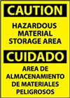Bilingual Caution Sign - Hazardous Material Storage Area
