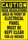 Caution Sign - Area In Front Of This Electrical Panel