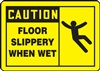Caution Sign with Graphic - Floor Slippery When Wet