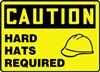 Caution Sign - Hard Hats Required With Graphic