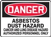 Danger Sign - Asbestos Dust Hazard