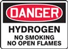 Danger Sign - Hydrogen No Smoking No Open Flames