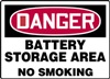 Danger Sign - Battery Storage Area No Smoking