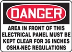 Danger Label - Keep Electrical Panel Clear