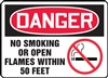 Danger Sign - No Smoking Or Open Flames Within 50 Feet