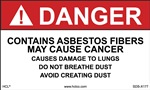 Danger Sign - Asbestos Adhesive Vinyl Label