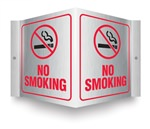 Safety Sign - No Smoking (Brushed Aluminum) Projecting
