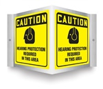 Caution Sign - Hearing Protection Projecting Sign