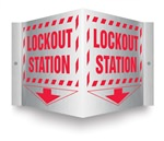 Safety Sign - Lockout Station (Brushed Aluminum)