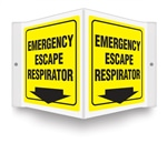 Safety Sign - Emergency Escape Respirator Projecting