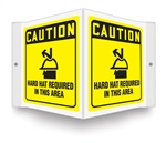 Caution Sign -  Hard Hat Required In This Area Projecting