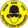 Floor Sign - Head Ear Eye Protection Required