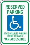 Reserved Handicapped Van Accessible Parking Sign