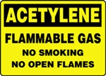 Flammable Label - Acetylene No Smoking