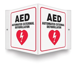 AED - Automated External Defibrillators - Projecting Sign