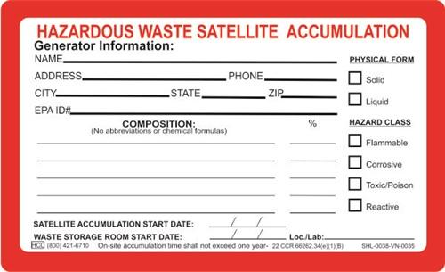 satellite accumulation label hcl labels inc - Hazardous Waste Labels