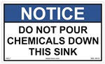 Do Not Pour Chemicals Down This Sink Label