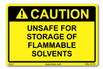 Caution Label - Unsafe For Storage Of Flammable Solvents
