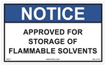 Notice Label - Approved For Storage Of Flammable Solvents