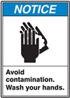 "Notice - Avoid Contamination Wash Your Hands - 3"" x 5"" Adhesive Vinyl (Pack of 25)"