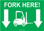 Fork Here Forklift Label