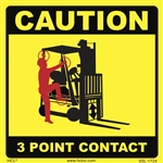 Caution 3 Point Contact Forklift Label