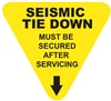 Seismic Tie Down - Must Be Secured After Servicing - Earthquake Safety Label