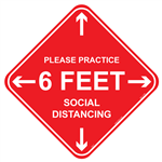 "Please Practice 6 Feet Social Distance - 4"" x 4"" Adhesive Vinyl Label"