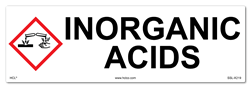 Inorganic Acids Cabinet or Secondary Containment Sign