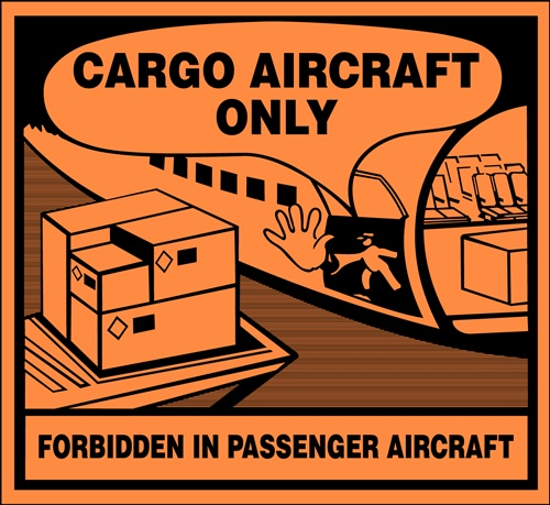 Cargo Aircraft Only/Forbidden in Passenger Aircraft Air Transport - 4 3/8