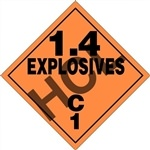 1.4 Explosives C1  DOT HazMat Label