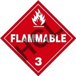 Flammable 3  DOT HazMat Placard