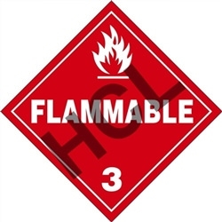 Large Flammable 3  DOT HazMat Placard