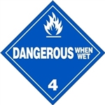 Dangerous When Wet  DOT HazMat Placard